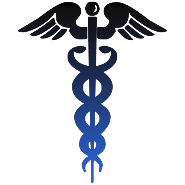 caduceus symbol black blue