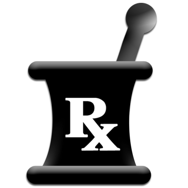 RX Logo Pharmacy http://www.ipharmd.net/mortar_pestle/mortar_pestle_black_shadow_white_rx_symbol.html
