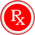 rx symbol white times red button